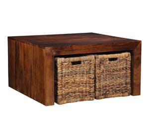 Dakota Coffee Table with Baskets