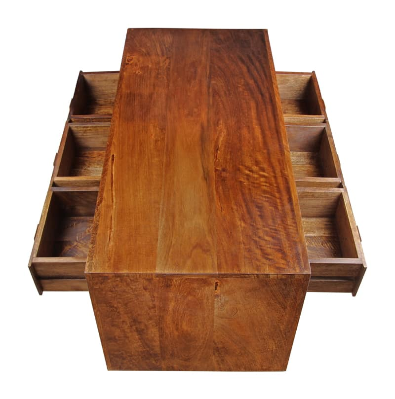 Indore Coffee Table With 6 Drawers: Dakota 6 Drawer Coffee Table
