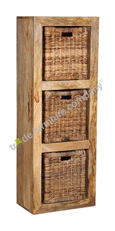 Light Dakota Triple Storage Cube with 3 Rattan Baskets