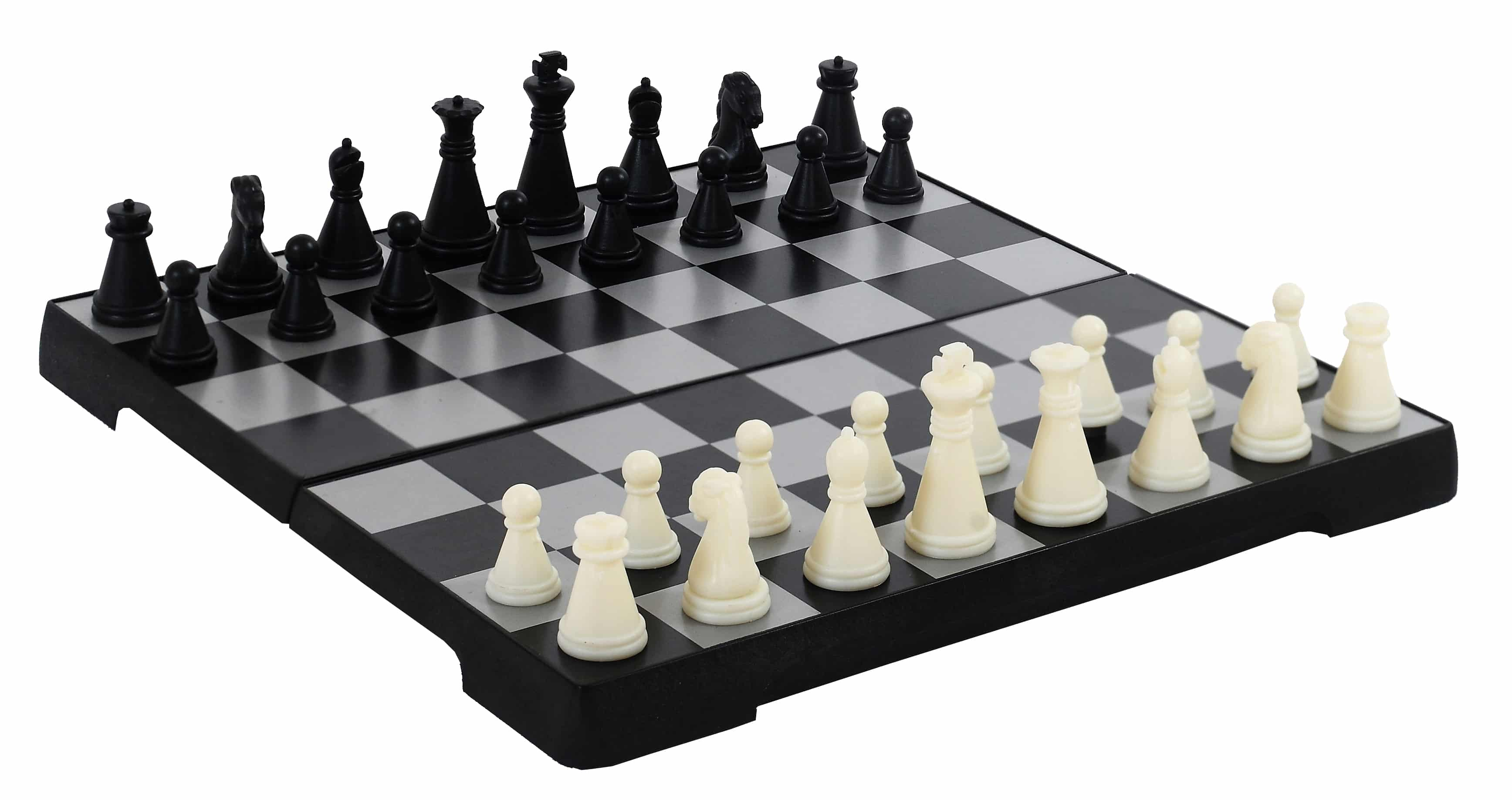 Picture of a black and white chess set.