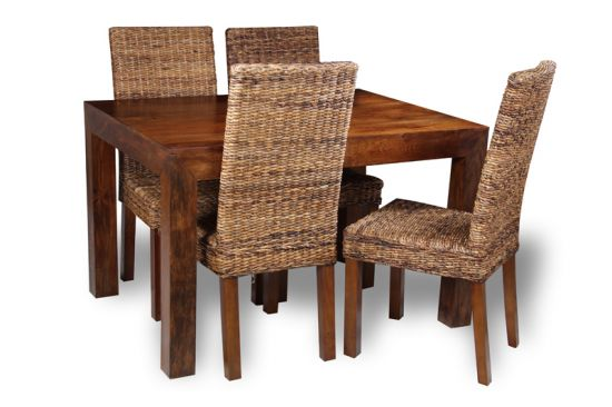 120cm Table 4 Rattan Chairs